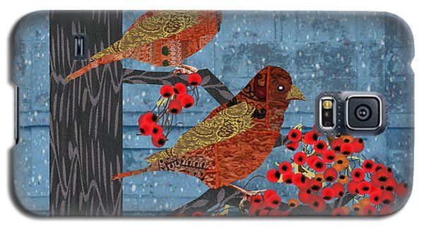 Galaxy S5 Case featuring the digital art Sage Brush Sparrow In Rain by Kim Prowse