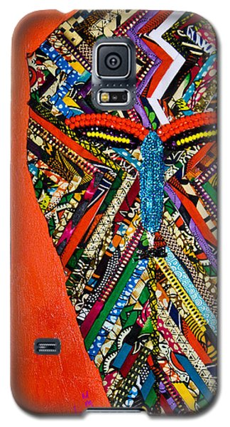 Galaxy S5 Case featuring the tapestry - textile Quilted Warrior by Apanaki Temitayo M