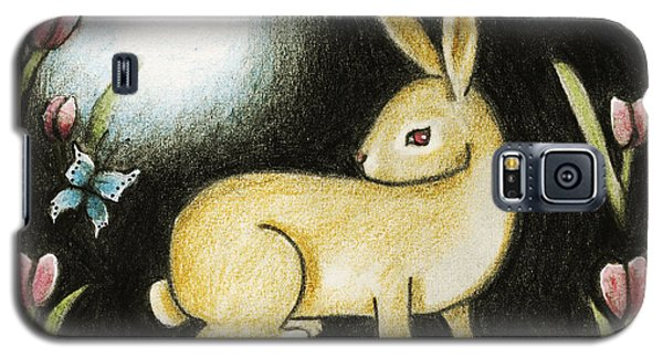 Galaxy S5 Case featuring the mixed media Rabbit And The Butterfly . . . From The Tapestry Series by Terry Webb Harshman