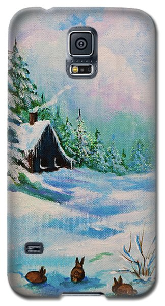 Galaxy S5 Case featuring the painting Rabbits Waiting For Spring by Bob and Nadine Johnston