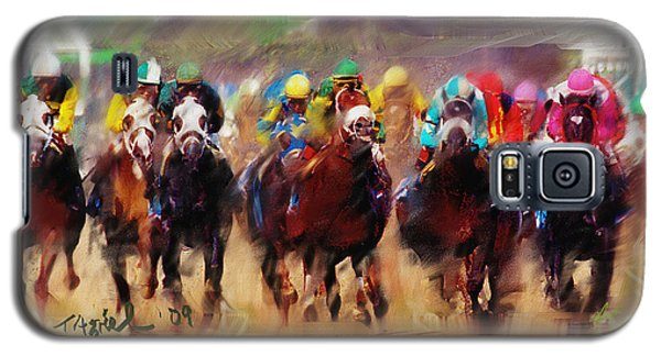 Galaxy S5 Case featuring the painting Race To The Finish Line by Ted Azriel