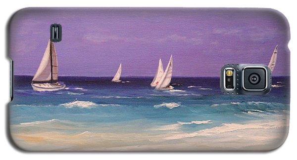 Galaxy S5 Case featuring the painting Racing The Wind by Janet Greer Sammons