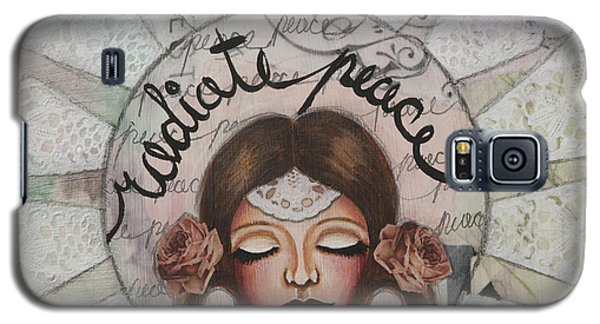 Galaxy S5 Case featuring the mixed media Radiate Peace Inspirational Mixed Media Folk Art  by Stanka Vukelic