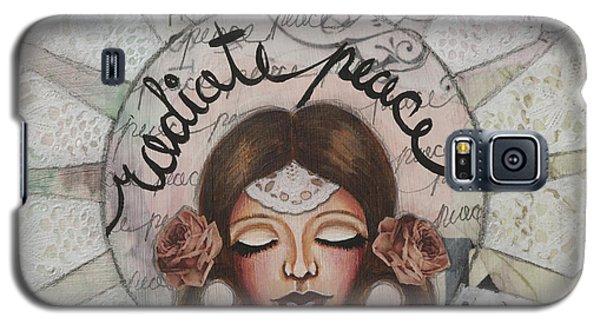Radiate Peace Inspirational Mixed Media Folk Art  Galaxy S5 Case by Stanka Vukelic