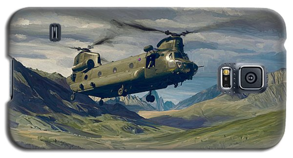 Galaxy S5 Case featuring the painting Raf Chinook Ch-47 On Exercise by Nop Briex