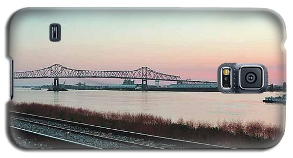 Galaxy S5 Case featuring the photograph Rail Along Mississippi River by Charlotte Schafer