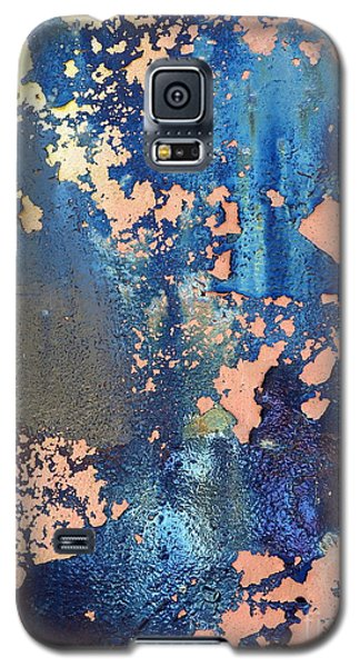Galaxy S5 Case featuring the photograph Rail Rust - Abstract - Iridescent Blue by Janine Riley