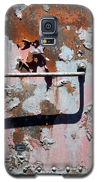 Galaxy S5 Case featuring the photograph Rail Rust - Abstract - Make It Pink by Janine Riley