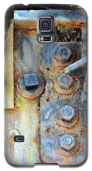 Galaxy S5 Case featuring the photograph Rail Rust - Abstract - Nuts And Bolts by Janine Riley