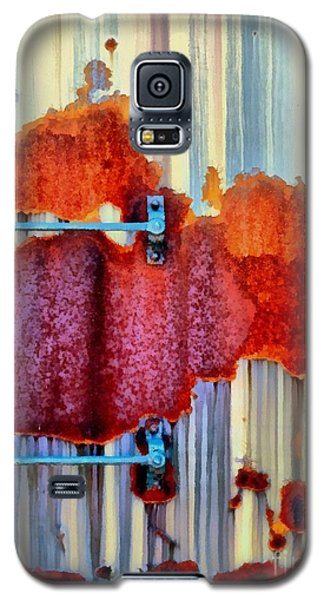 Galaxy S5 Case featuring the photograph Rail Rust - Abstract - Studs And Stripes by Janine Riley