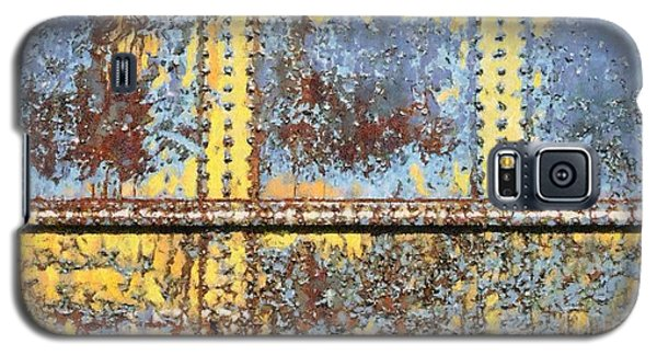 Galaxy S5 Case featuring the photograph Rail Rust - Abstract - Yellow In 3 by Janine Riley