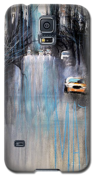 Galaxy S5 Case featuring the drawing Rain In New York by Maja Sokolowska
