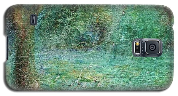 Galaxy S5 Case featuring the painting Rain On The Pond by Mary Wolf