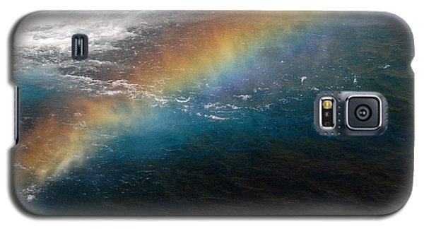 Galaxy S5 Case featuring the photograph Rainbow At Waterfall Base by Debra Thompson