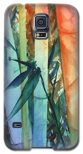 Galaxy S5 Case featuring the painting Rainbow Bamboo 2 by Marionette Taboniar