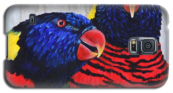 Galaxy S5 Case featuring the painting Rainbow Lorikeets by Penny Birch-Williams