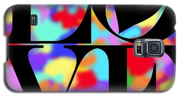 Rainbow Love In Black Galaxy S5 Case