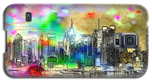 Rainbow Nyc Skyline Galaxy S5 Case by Daniel Janda