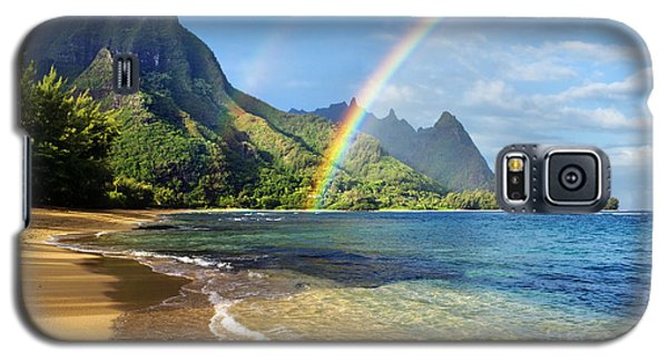 Rainbow Over Haena Beach Galaxy S5 Case by M Swiet Productions