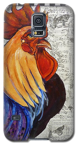 Galaxy S5 Case featuring the painting Rainbow Rooster by P Maure Bausch