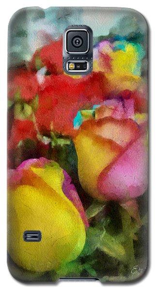 Rainbow Roses Watercolor Digital Painting Galaxy S5 Case by Eti Reid