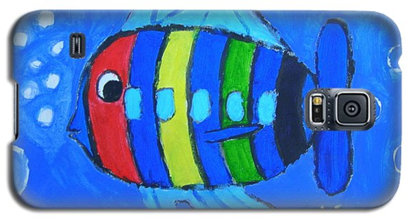 Galaxy S5 Case featuring the painting Rainbow Submarine Fish by Artists With Autism Inc