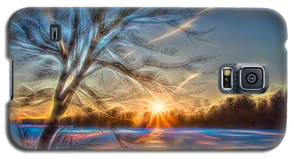Rainbow Sunset On Snow Covered Lake Galaxy S5 Case