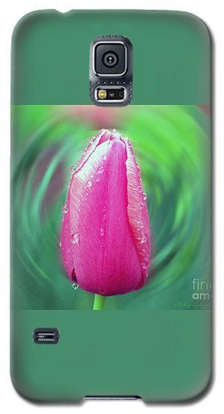 Galaxy S5 Case featuring the photograph Rained Upon Pink Tulip by Gena Weiser