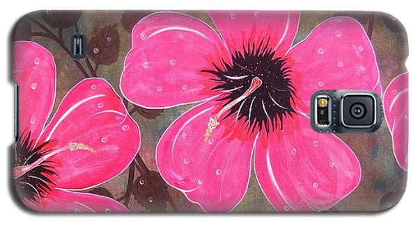 Galaxy S5 Case featuring the painting Rainey Day Pink Hibiscus by Cindy Micklos