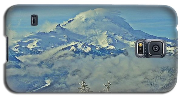Galaxy S5 Case featuring the photograph Rainier Cloaked In Winter by Jeff Cook