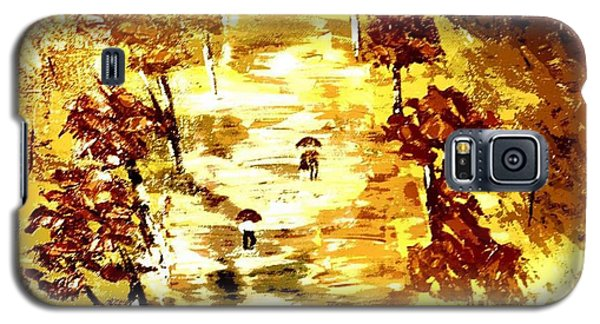 Galaxy S5 Case featuring the painting Rainy Autumn Trail  by Denise Tomasura