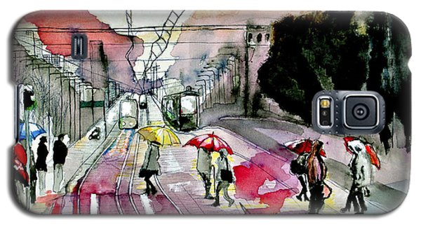 Galaxy S5 Case featuring the painting Rainy Day In The City by Maja Sokolowska