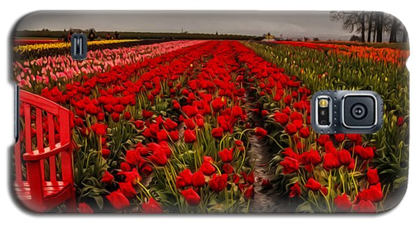 Galaxy S5 Case featuring the photograph Rainy Day Tulips by Nancy Marie Ricketts