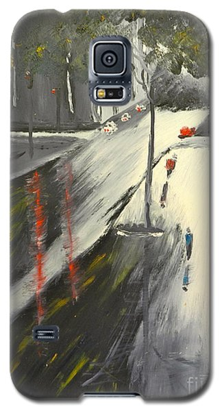 Galaxy S5 Case featuring the painting Rainy Street In Melbourne by Pamela  Meredith