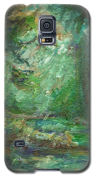 Galaxy S5 Case featuring the painting Rainy Woods by Mary Wolf