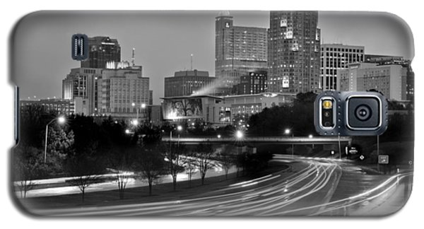Galaxy S5 Case featuring the photograph Raleigh Skyline At Dusk Evening Black And White Bw Evening Panorama North Carolina Nc by Jon Holiday