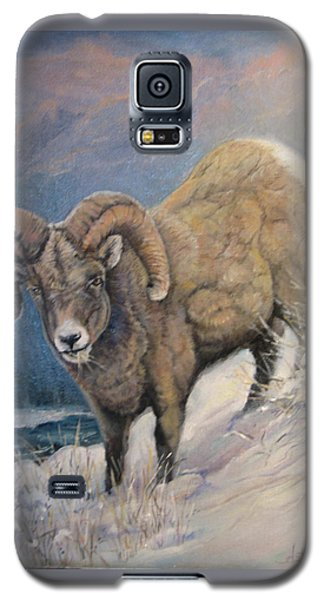 Galaxy S5 Case featuring the painting Ram In The Snow by Donna Tucker
