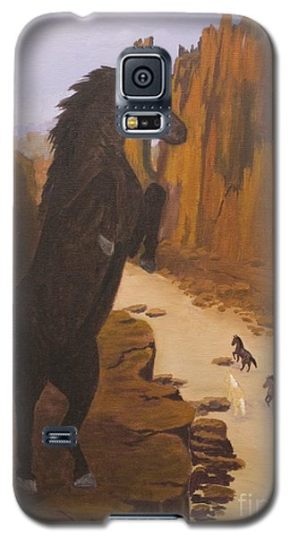 Galaxy S5 Case featuring the painting Range War by J Cheyenne Howell