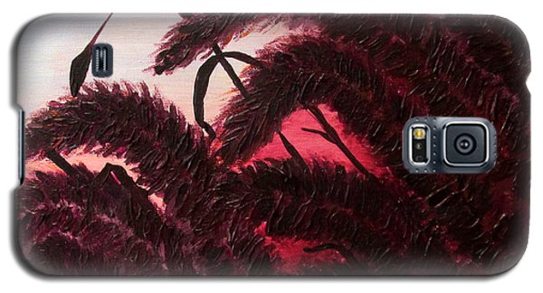 Galaxy S5 Case featuring the painting Raspberry Sunset Original Ornamental Grass Fine Art Print By Penny Hunt by Penny Hunt