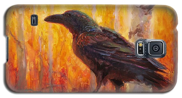 Raven Glow Autumn Forest Of Golden Leaves Galaxy S5 Case