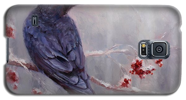 Raven In The Stillness - Black Bird Or Crow Resting In Winter Forest Galaxy S5 Case