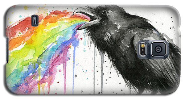 Raven Galaxy S5 Case - Raven Tastes The Rainbow by Olga Shvartsur