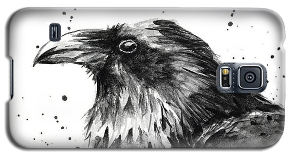 Raven Galaxy S5 Case - Raven Watercolor Portrait by Olga Shvartsur
