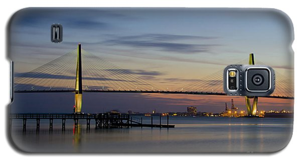 Galaxy S5 Case featuring the photograph Ravenel Bridge Nightfall by Dale Powell