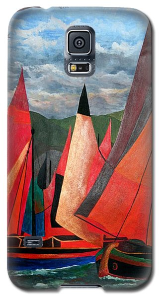 Galaxy S5 Case featuring the painting Ravenna Regatta by Tracey Harrington-Simpson