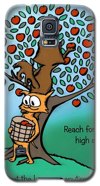 Galaxy S5 Case featuring the drawing Reach For The High Apples by Pet Serrano