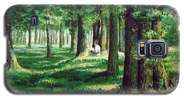 Galaxy S5 Case featuring the painting Reader In The Park by Laila Awad Jamaleldin