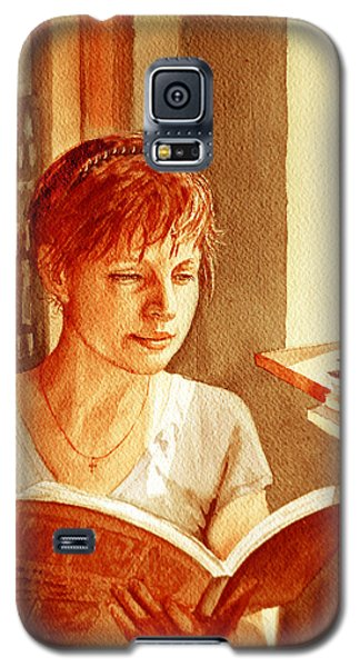 Galaxy S5 Case featuring the painting Reading A Book Vintage Style by Irina Sztukowski