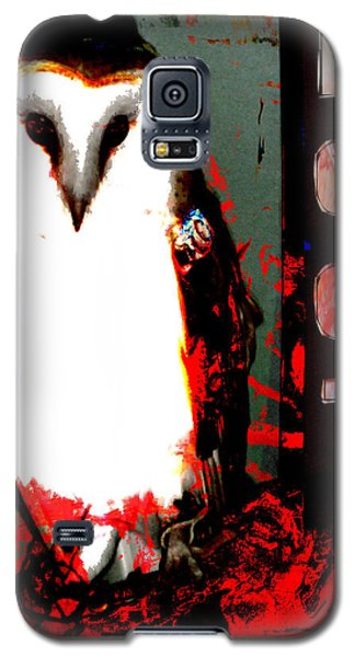 Galaxy S5 Case featuring the digital art Red And Black Owl Art by John Fish