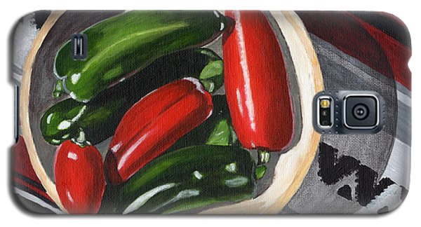 Galaxy S5 Case featuring the painting Red And Green Peppers by Laura Forde